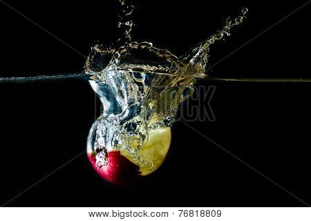 bitten apple and a splash of water