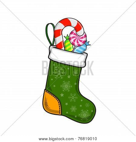 Christmas and New Year decorative sock with sweets.