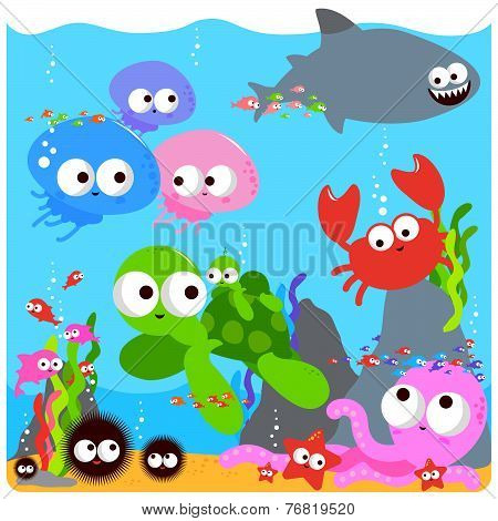 Happy colorful sea animals