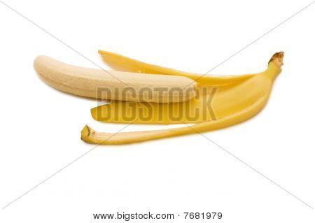 Open Banana Isolated On White Background