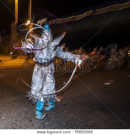 Street Performer In Silver At Dia De Los Muertos Procession