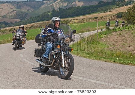 Biker On A Vintage Moto Guzzi Nevada