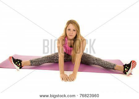 Woman Pink Sports Top Splits Looking