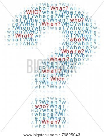 Question mark symbol of information questions who what where when