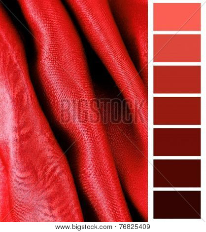 red silk fabric texture complimentary color palette chart