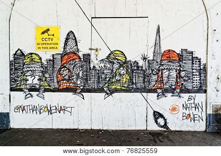 New street art piece on a construction site wall