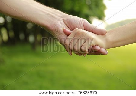 Two Hands In Love Couple On Nature
