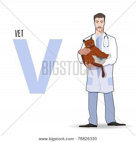 flat vector profession Letter V - Vet