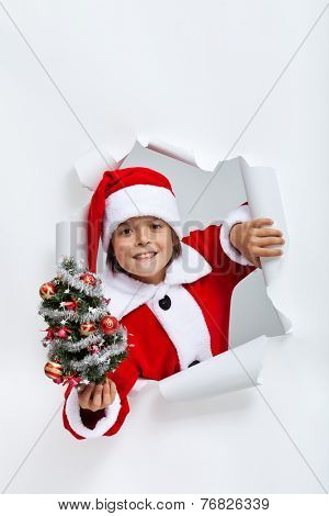 Happy christmas boy giving you a small decorated fir tree - leaning through hole in paper layer