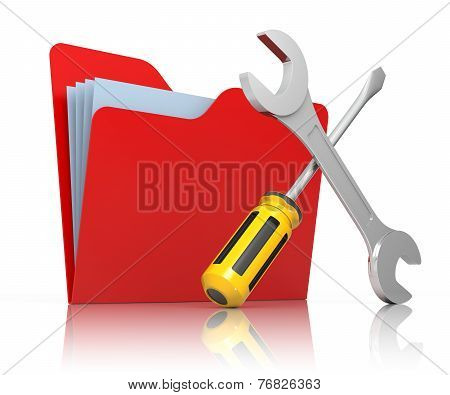 Red Folder With Wrench And Screwdriver