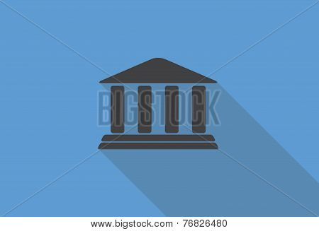 Flat Design Concept Bank Icon Vector Illustration With Long Shadow