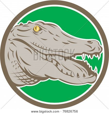 Alligator Head Snout Circle Retro
