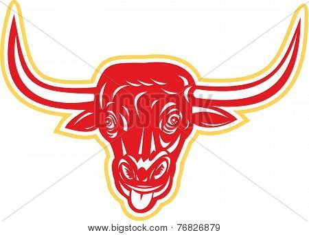 Angry Bull Head Tongue Out Retro