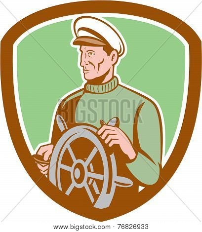 Fisherman Sea Captain Wheel Shield Retro