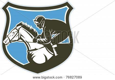 Jockey Horse Racing Side Shield Retro