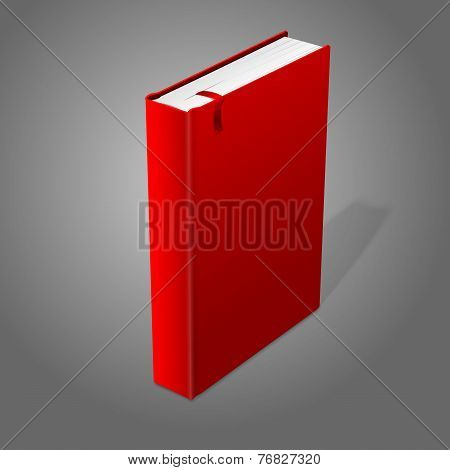 Realistic standing red blank hardcover book with bookmark. Isolated on grey background for design an