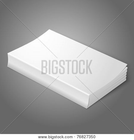 Realistic white blank softcover book. Isolated on grey background for your design or branding. Vecto