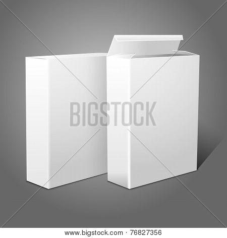 Two realistic white blank paper packages for cornflakes, muesli, cereals etc. Isolated on grey backg