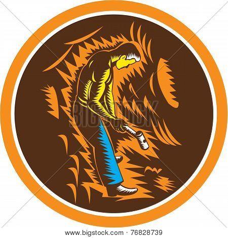 Coal Miner Holding Sledgehammer Circle Woodcut