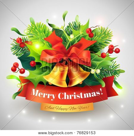 Christmas greeting card with bells and holly branch. Vector eps 10.