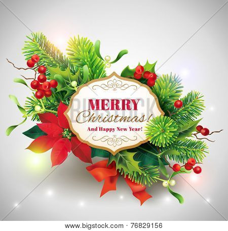 Christmas card with floral decoration. Vector eps 10.
