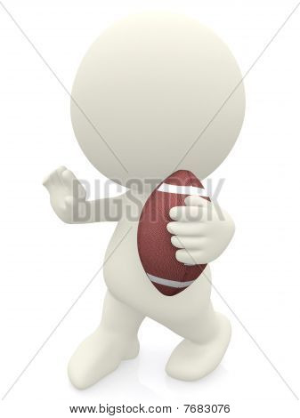 3D Man Holding A Football Ball