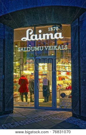 Entrance To The Laima Confectionery Store In Riga