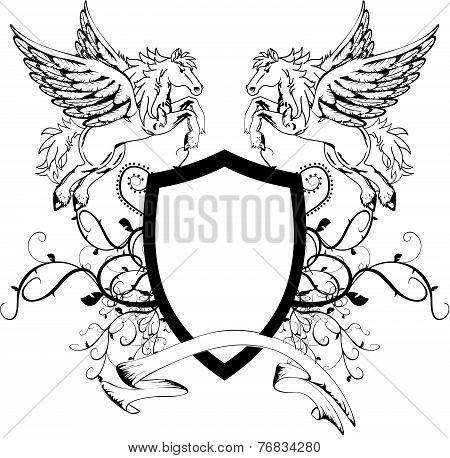 heraldic pegasus coat of arms crest shield4