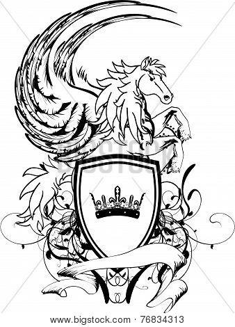heraldic pegasus coat of arms crest shield1