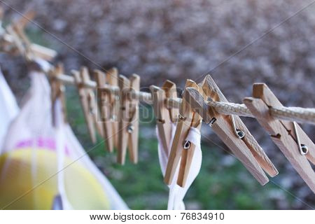 Clothes pins with white bags