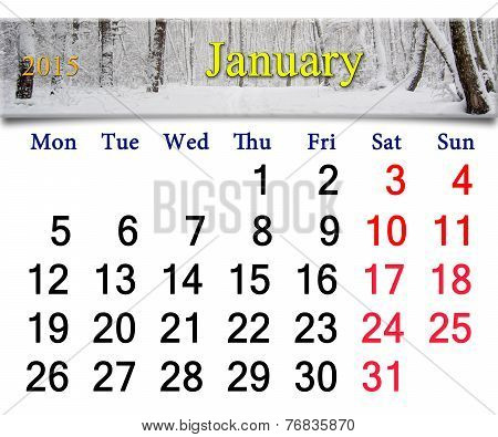 Calendar For The January Of 2015