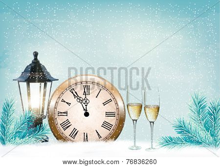 Holiday retro background with champagne glasses and clock . Happy New Year. Vector illustration
