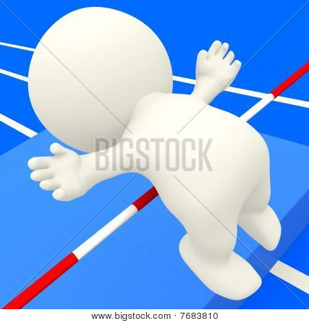 3D Person Practicing High Jump