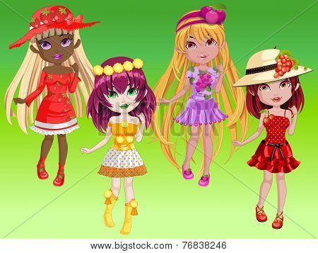 Doll Girls With Fruity Dress Up