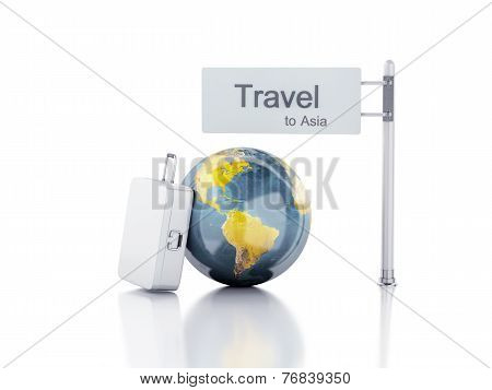 3d travel suitcase and world globe. travel to Asia concept