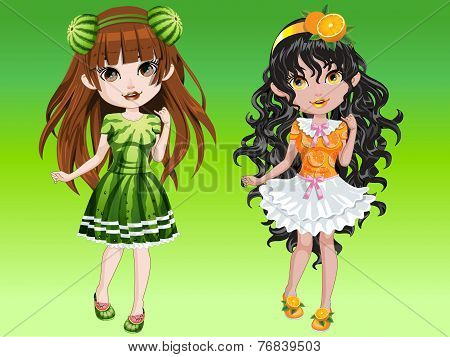 Cartoon girls on fruity dressing