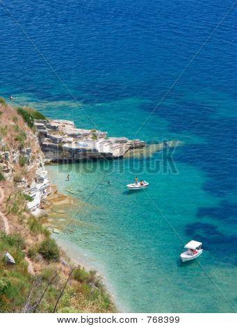 Boats at bay on Corfu island