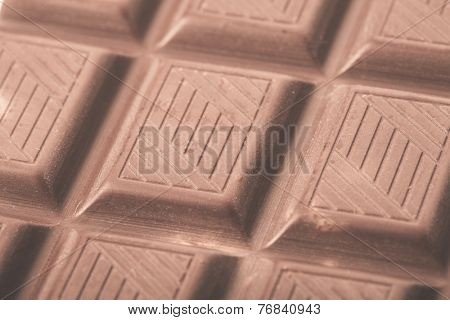 Chocolate bar close up, milk choc. Macro photo.