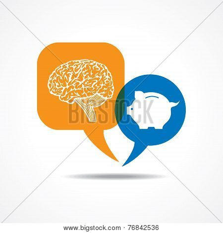 Brain and piggy bank in message bubble stock vector