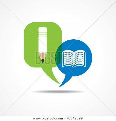 Pencil and book icon in message bubble stock vector