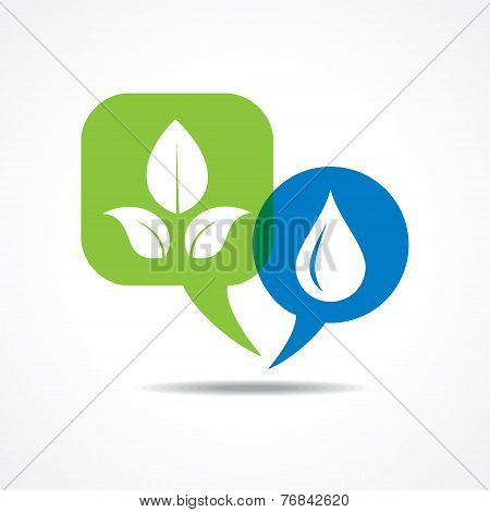 Leafs and waterdrop in message bubble stock vector