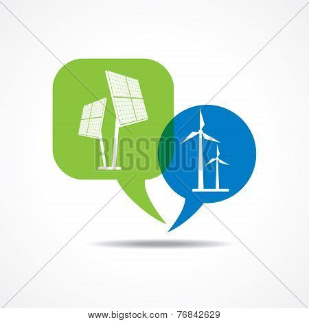 Solar panel and wind-mill in message bubble stock vector