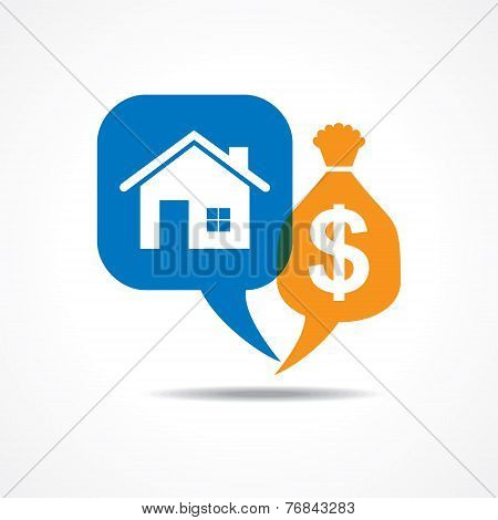 Home and dollar symbol in message bubble stock vector