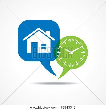 Home and clock in message bubble stock vector