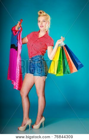 Pinup Girl With Shopping Bags Buying Clothes Dress
