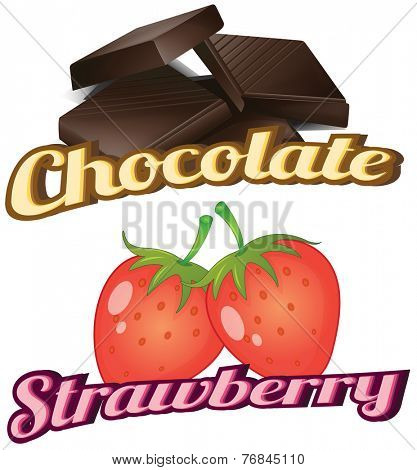 Flashcard showing chocolate and strawberry