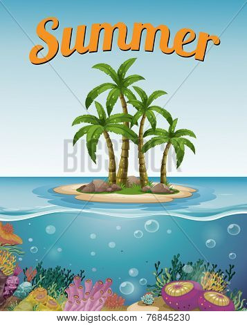 Summer postcard with island and text