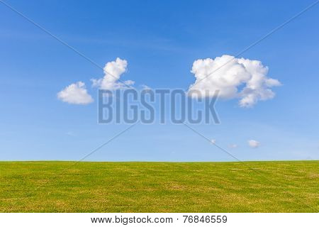 Beautiful Green Grass Field With Cumulus Cloud And Blue Sky Background.