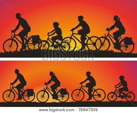 family on a bike trip - vector icons