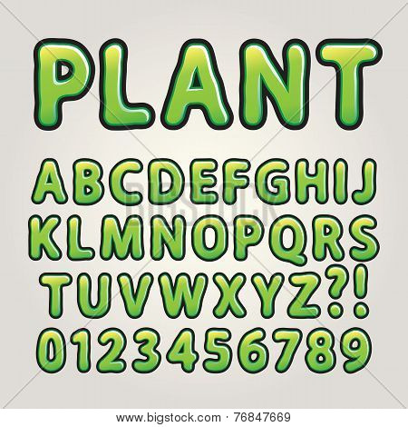 Abstract Green Nature Alphabet And Numbers, Editable Eps10 Vector